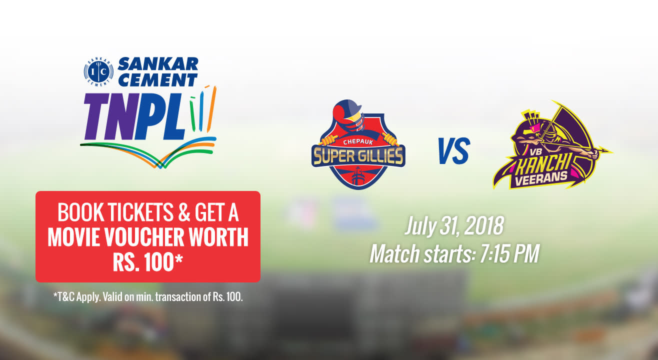 TNPL 2018 | Chepauk Super Gillies vs VB Kanchi Veerans