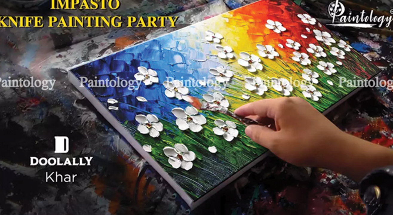 Impasto Knife painting party by Paintology