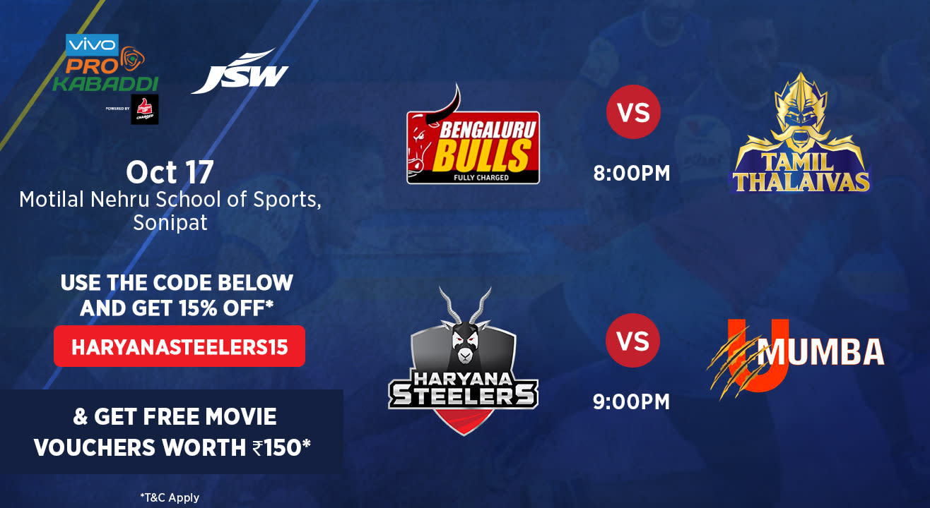 VIVO Pro Kabaddi - Bengaluru Bulls vs Tamil Thalaivas and Haryana Steelers vs U Mumba