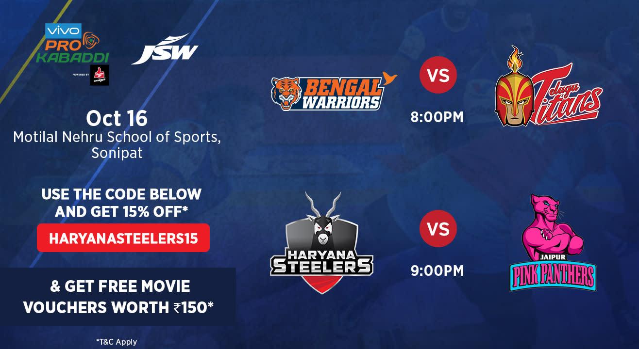 VIVO Pro Kabaddi - Bengal Warriors vs Telugu Titans and Haryana Steelers vs Jaipur Pink Panthers