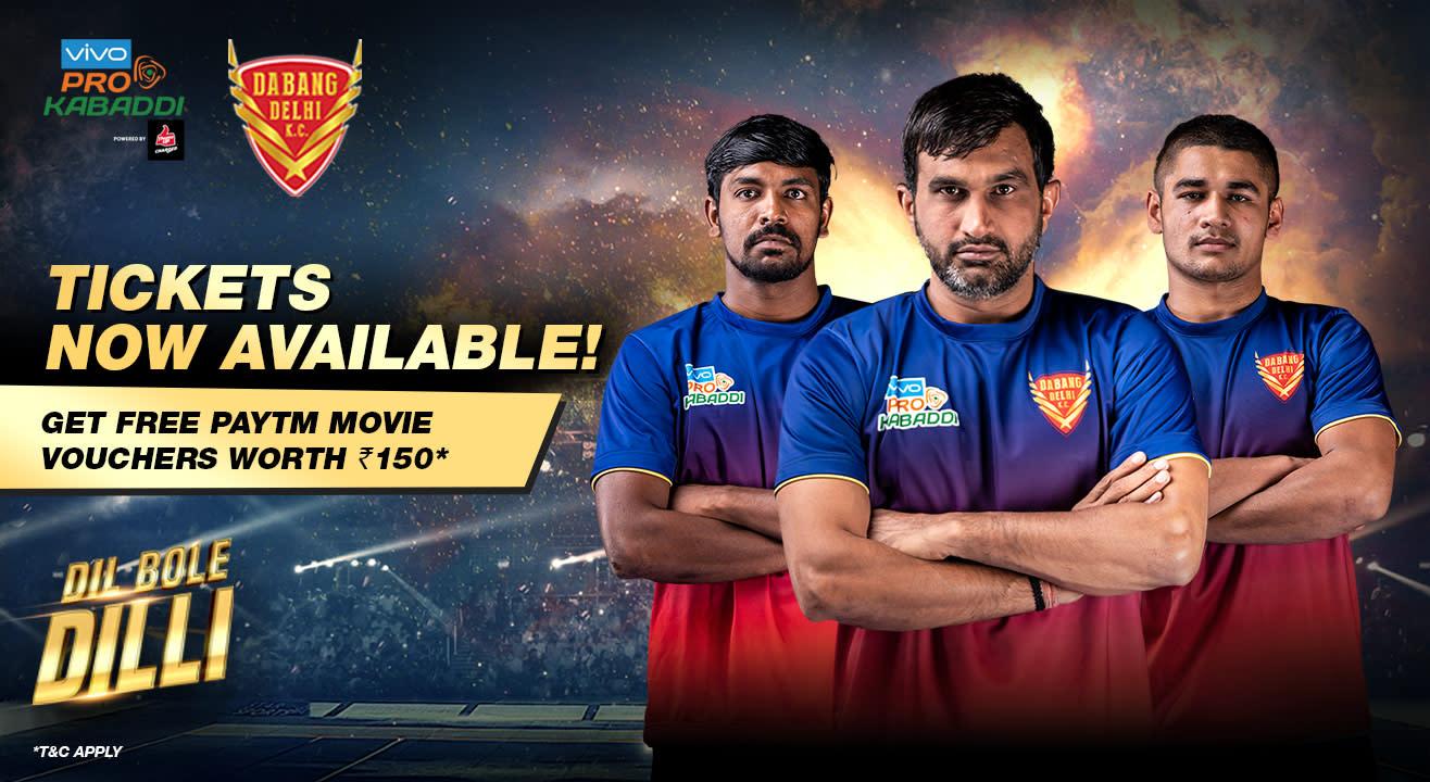 VIVO Pro Kabaddi 2018-19: Dabang Delhi K.C. Tickets, schedule, squad & more!