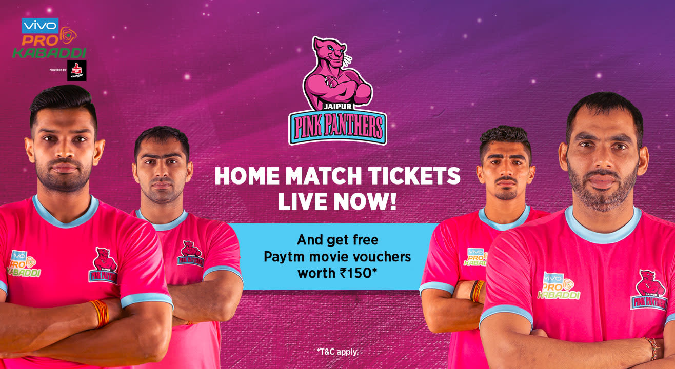 VIVO Pro Kabaddi 2018-19: Jaipur Pink Panthers Tickets, schedule, squad & more!