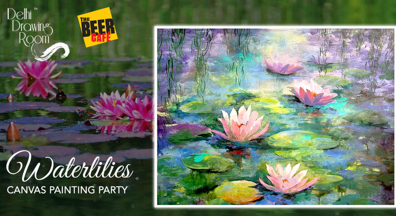 Monet's Waterlilies Canvas Painting Party by Delhi Drawing Room