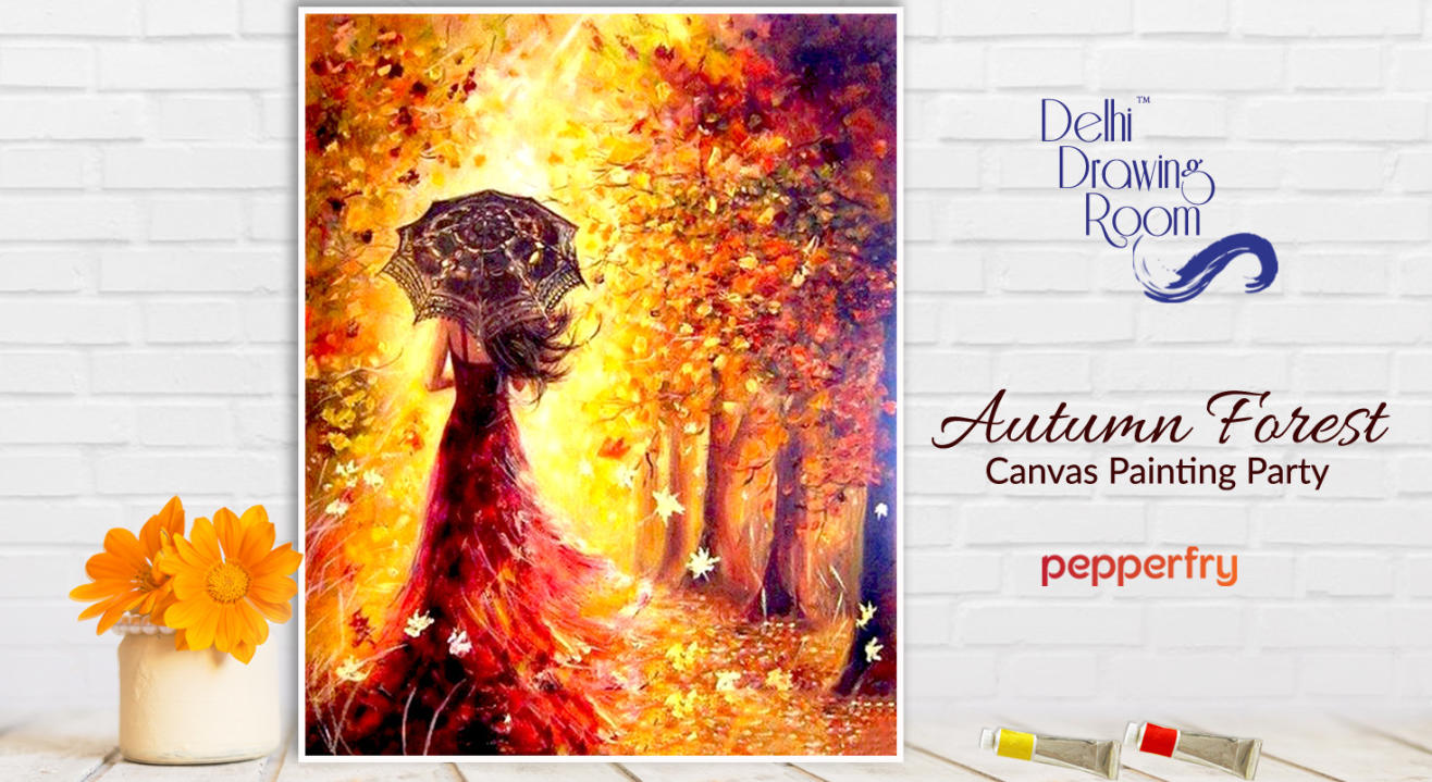 Autumn Forest Canvas Painting Party by Delhi Drawing Room
