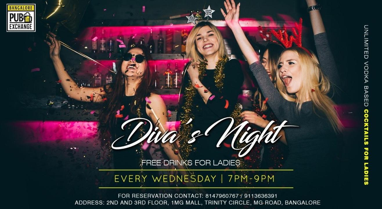 Diva's Night at Bangalore Pub Exchange by SMAAASH-Every Wednesday | 7 PM - 9 PM