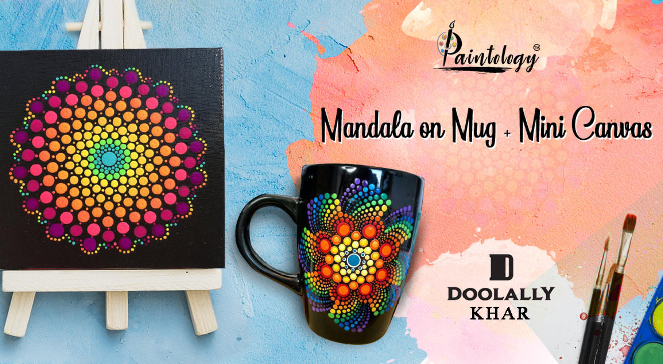 Mandala Painting on Mug + Mini Canvas, Khar
