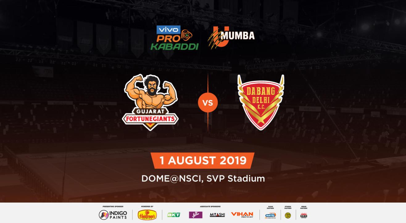 VIVO Pro Kabaddi 2019 - Gujarat Fortunegiants vs Dabang Delhi K.C.