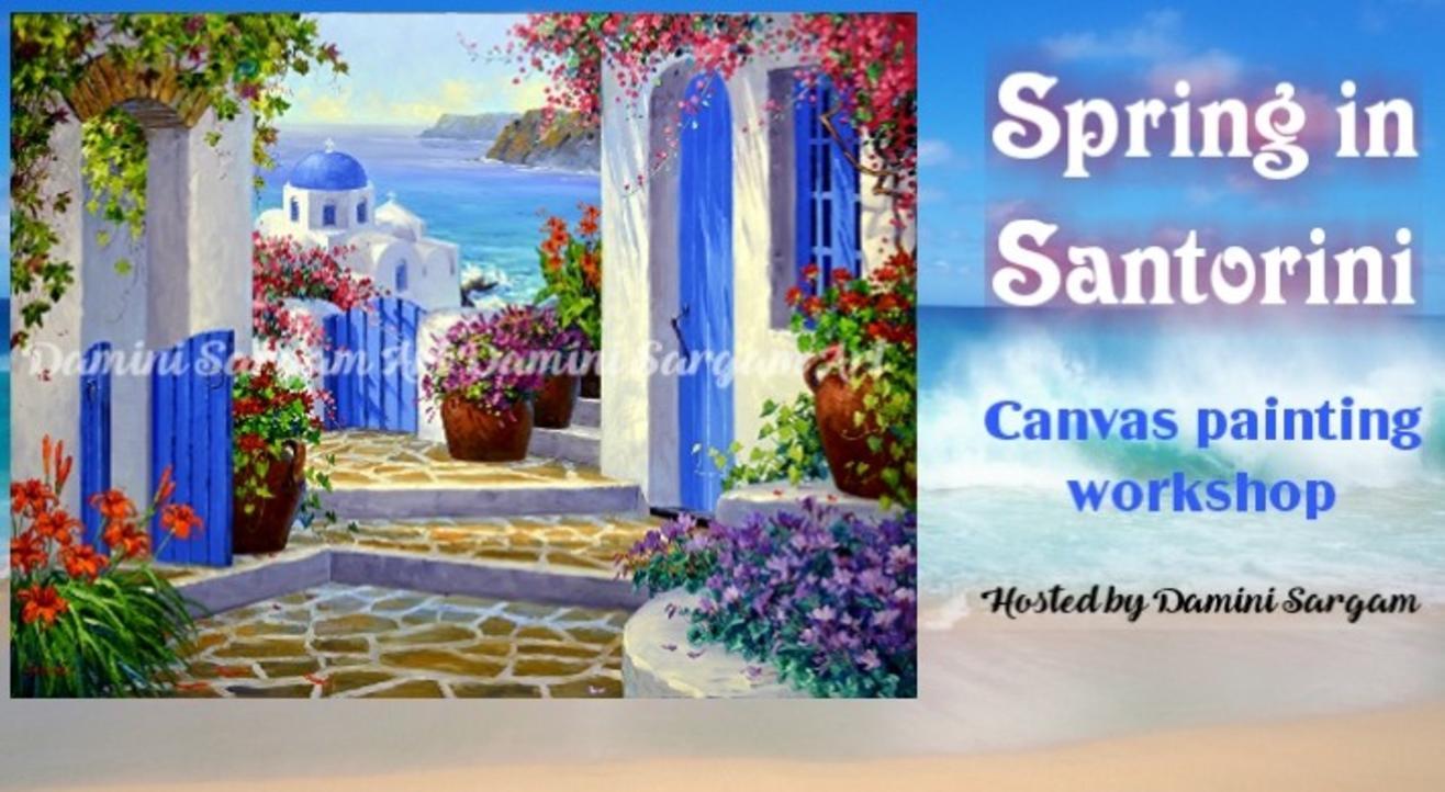 Spring in Santorini canvas painting workshop