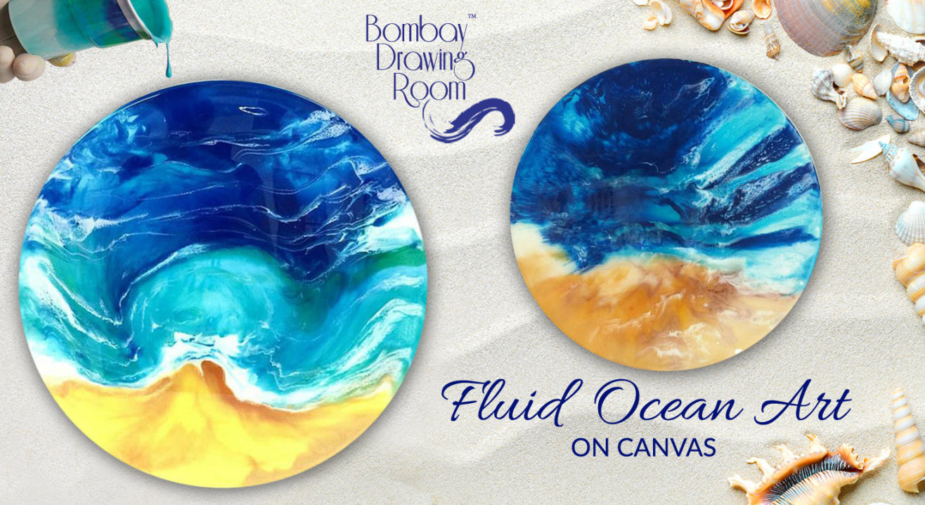 Fluid Ocean Art on Canvas by Bombay Drawing Room