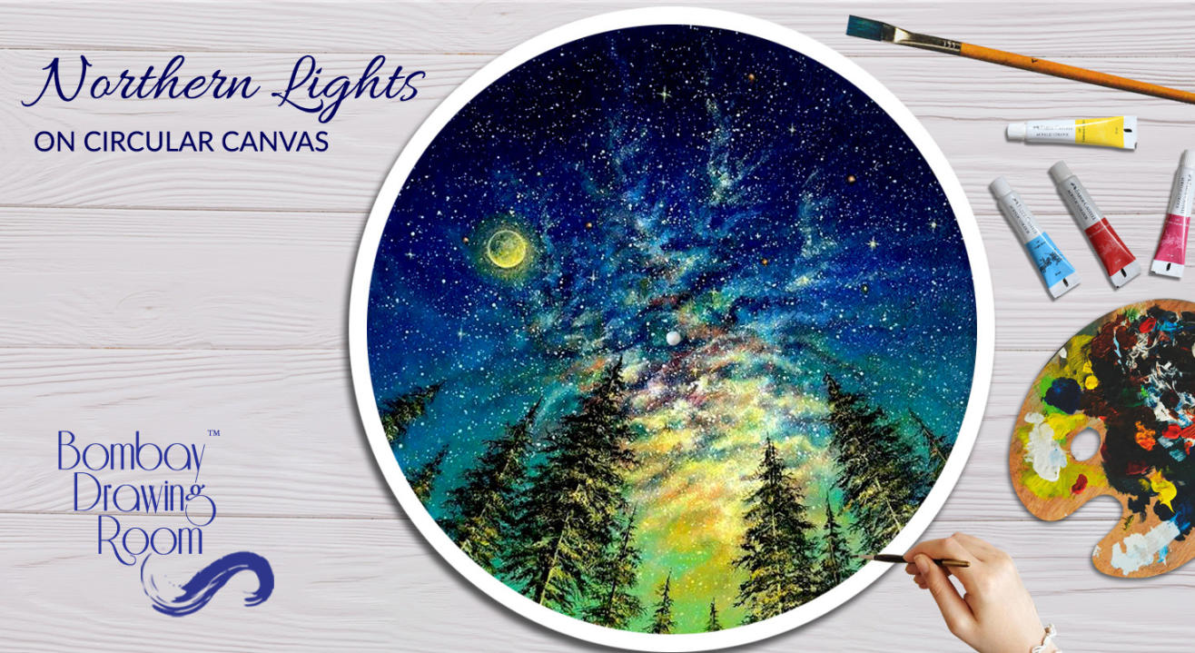 Northern Lights on Circular Canvas by Bombay Drawing Room