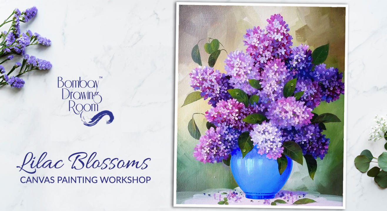 Lilac Blossoms Canvas Painting Workshop by Bombay Drawing Room