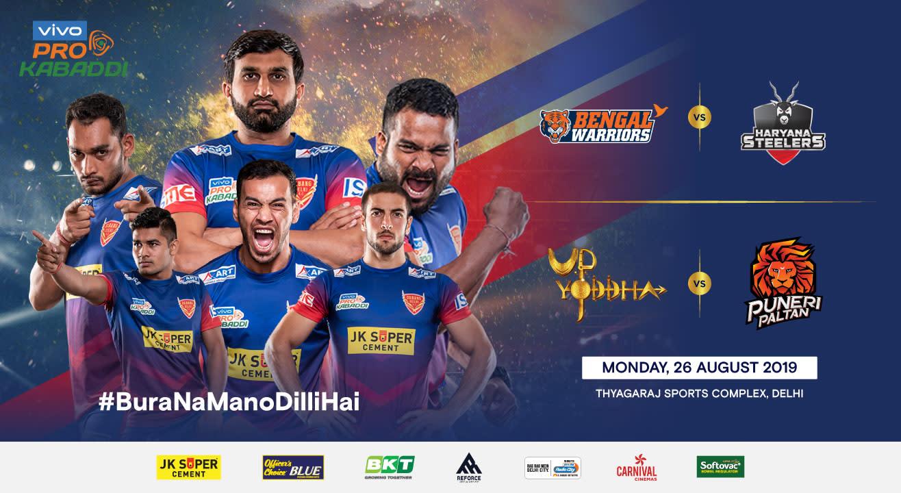 VIVO Pro Kabaddi 2019 - Bengal Warriors vs Haryana Steelers and U.P Yoddha vs Puneri Paltan