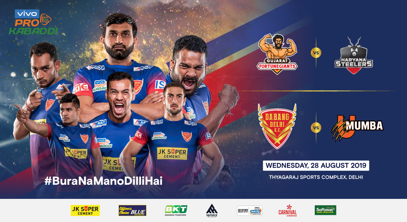 VIVO Pro Kabaddi 2019 - Gujarat Fortunegiants vs Haryana Steelers and Dabang Delhi K.C. vs U Mumba