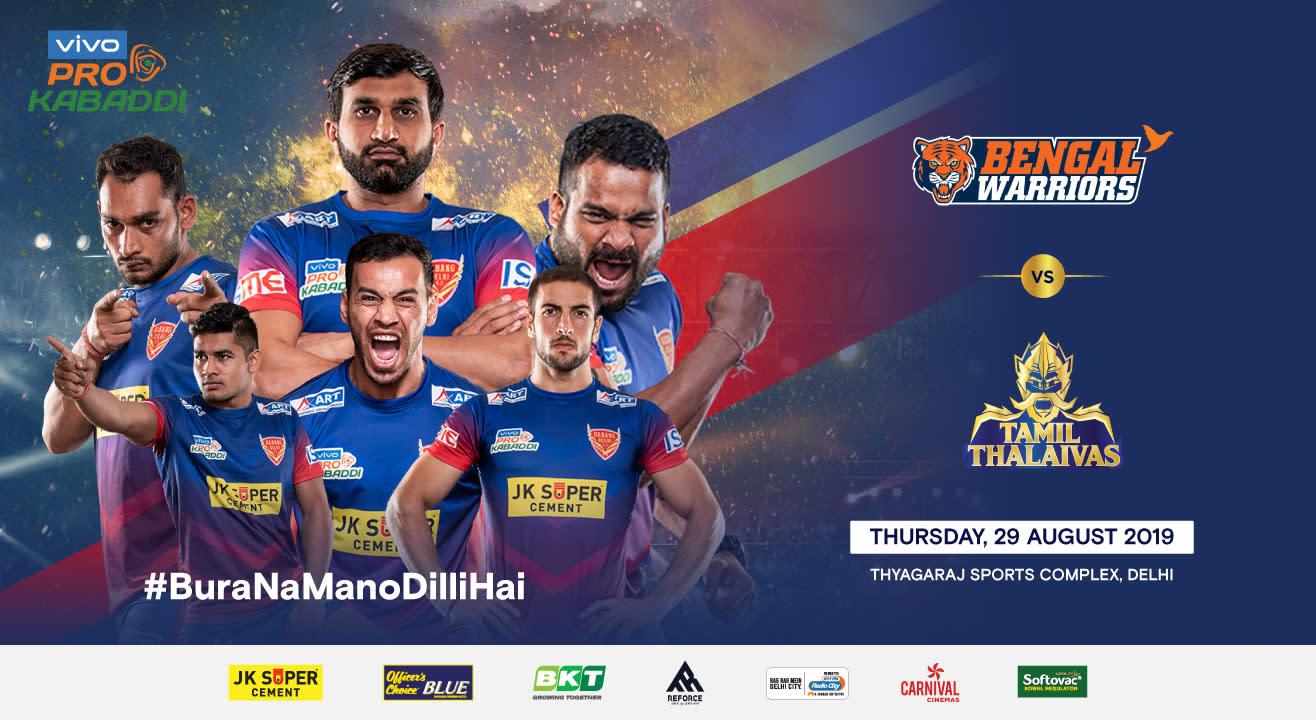 VIVO Pro Kabaddi 2019 - Bengal Warriors vs Tamil Thalaivas