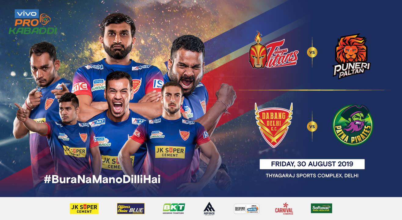 VIVO Pro Kabaddi 2019 - Telugu Titans vs Puneri Paltan and Dabang Delhi K.C. vs Patna Pirates