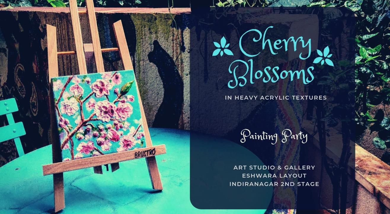 Cherry Blossoms Knife Painting 3D Textured Acrylics on Canvas