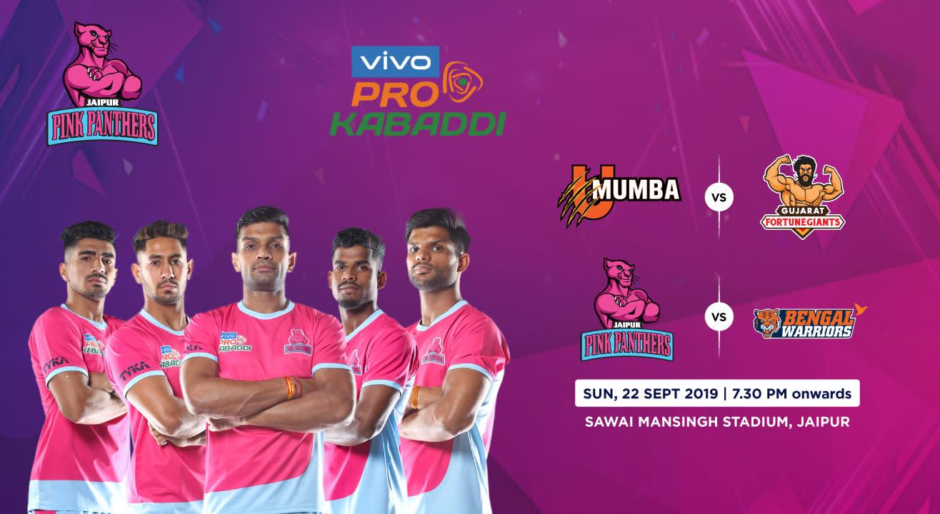 VIVO Pro Kabaddi 2019 - U Mumba vs Gujarat Fortunegiants and Jaipur Pink Panthers vs Bengal Warriors