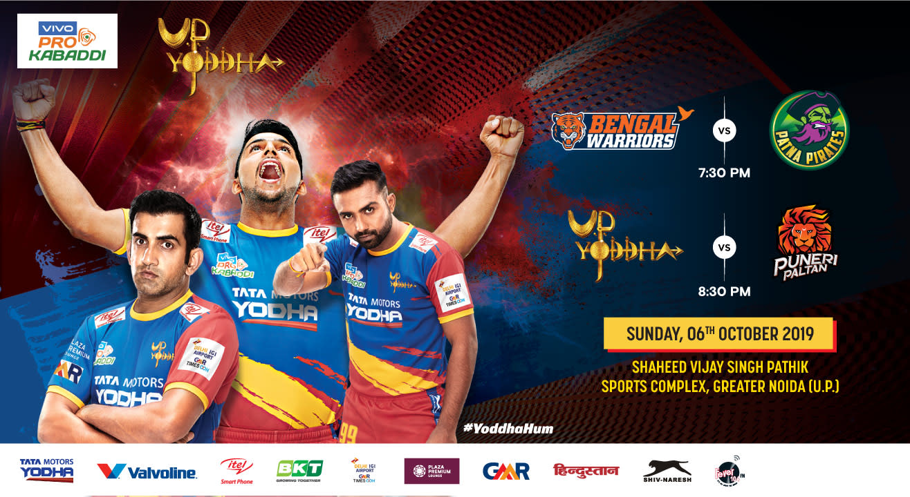 VIVO Pro Kabaddi 2019 - Bengal Warriors vs Patna Pirates and U.P. Yoddha vs Puneri Paltan