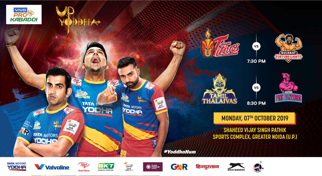 VIVO Pro Kabaddi 2019 - Telugu Titans vs Gujarat Fortunegiants and Tamil Thalaivas vs Jaipur Pink Panthers