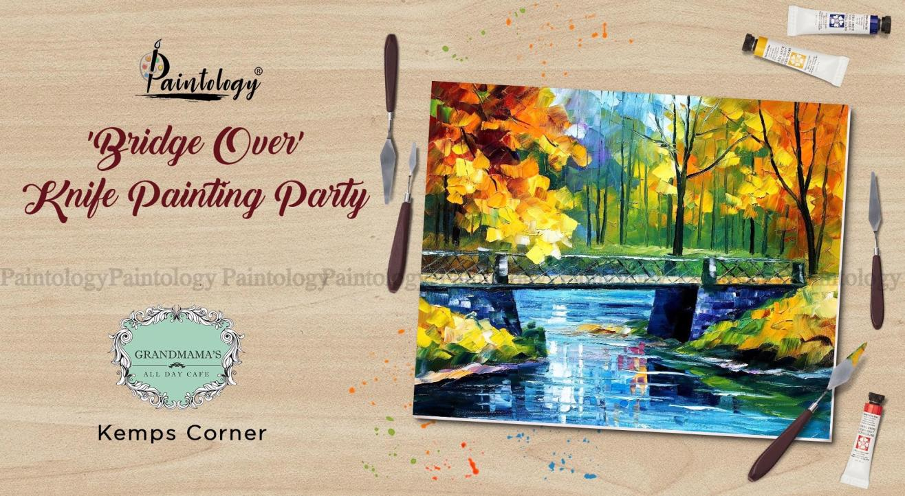 A Knife Painting party 'Bridge Over' by Paintology