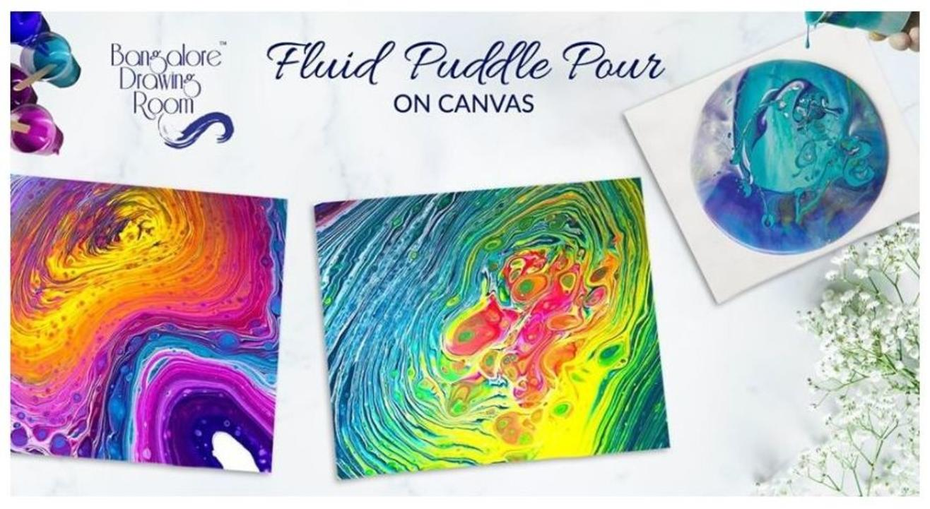 Fluid Puddle Pour on Canvas-By Drawing Room