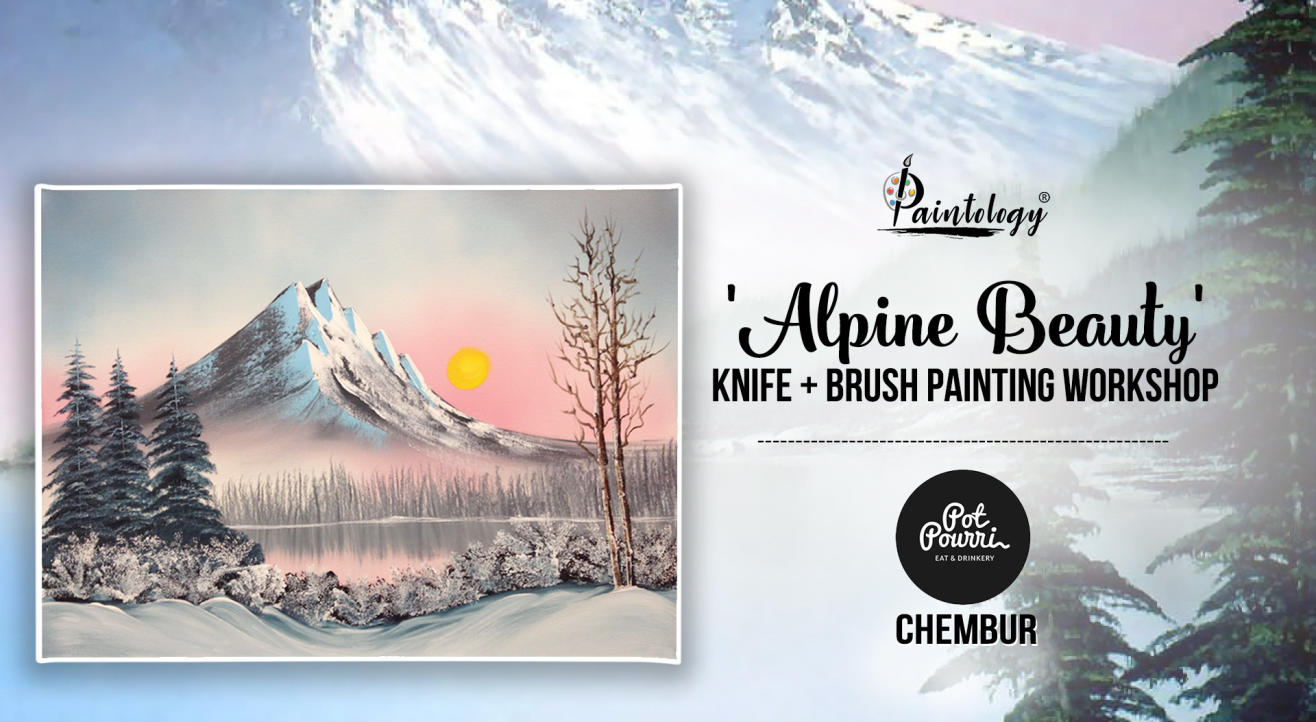 Alpine Route Brush + knife painting party by Paintology