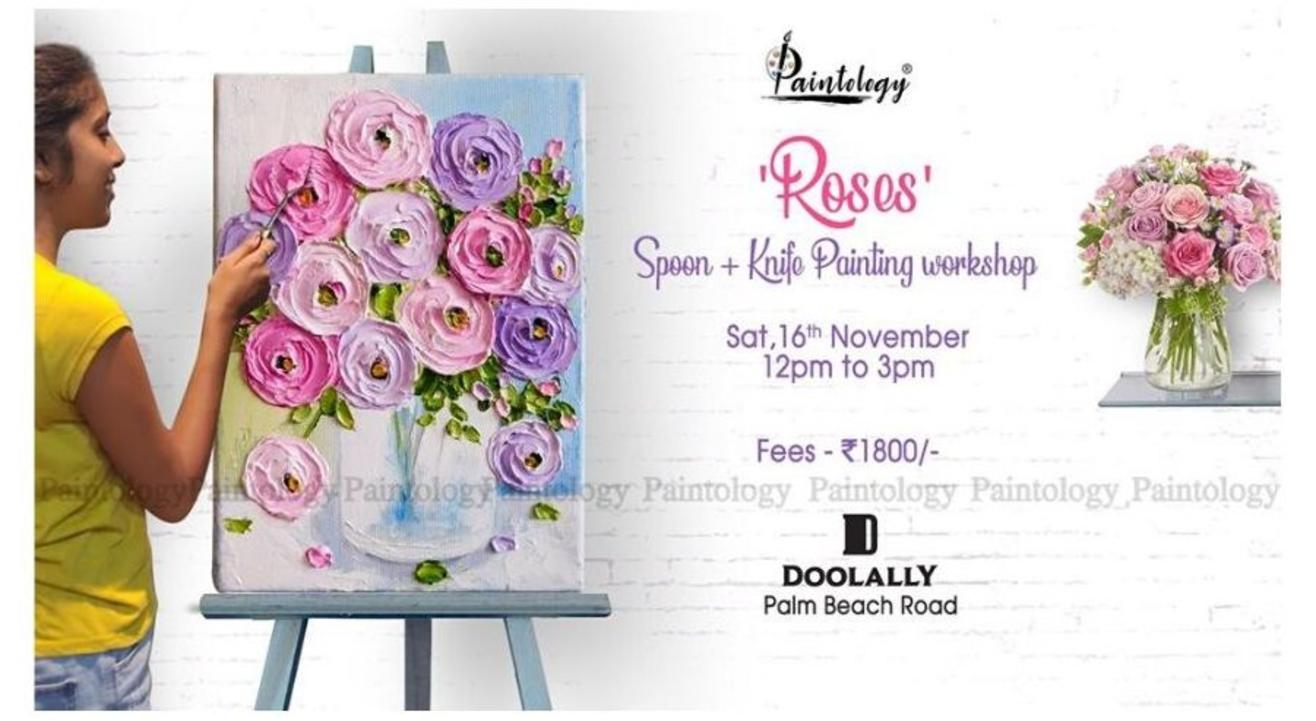 Roses' Impasto Knife + Spoon painting party: By Paintology