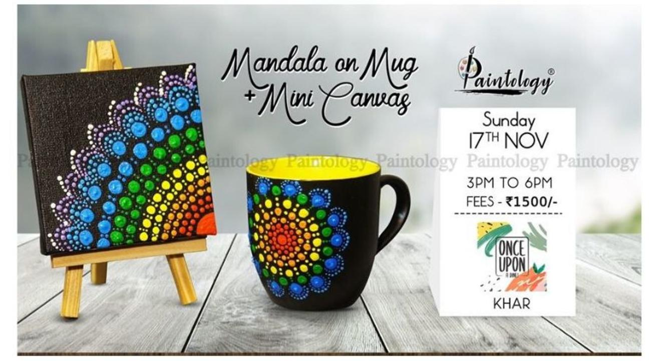 Mandala Painting on Mug + Mini Canvas: By Paintology