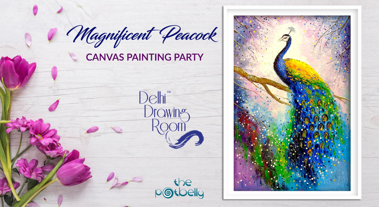 Magnificent Peacock Canvas Painting Party by Delhi Drawing Room