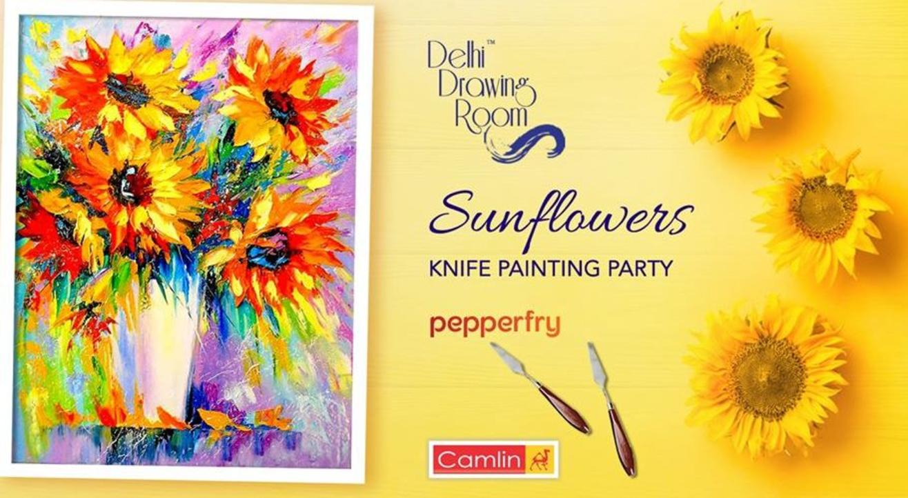 Sunflowers Knife Painting Party: By Delhi Drawing Room