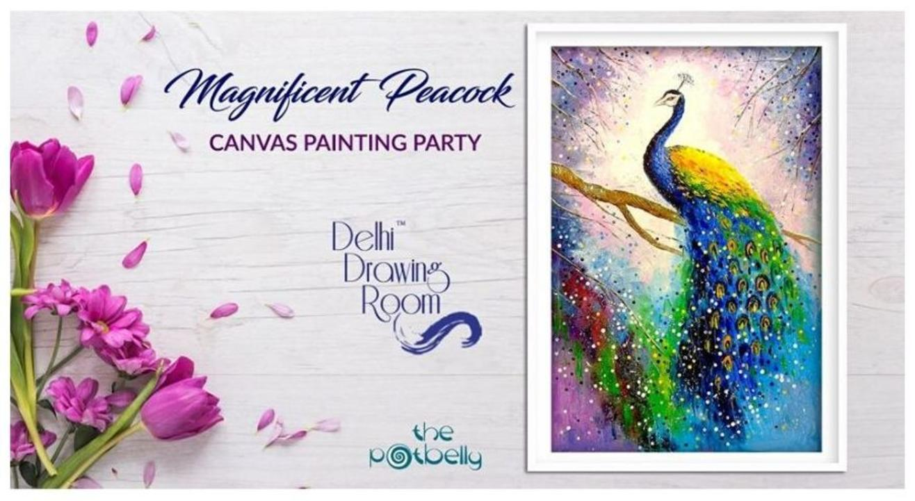 Magnificent Peacock Canvas Painting Party: By  Delhi Drawing Room