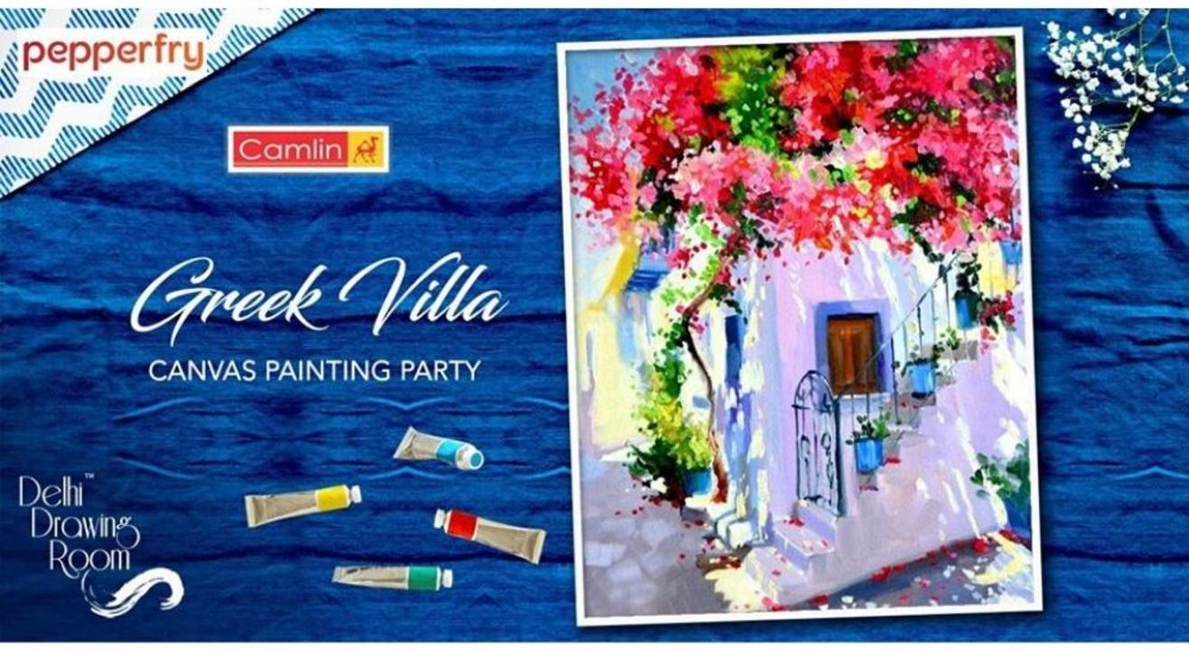 Greek Villa Canvas Painting Party By: Delhi Drawing Room