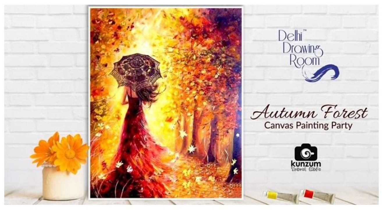 Autumn Forest Canvas Painting Party-Delhi Drawing Room