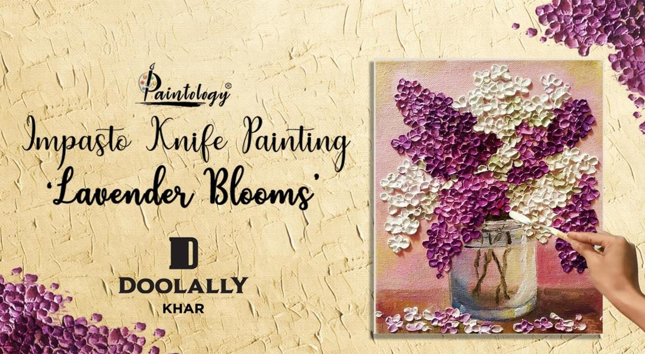 'Lavender Blossoms' Impasto Knife Painting party by Paintology