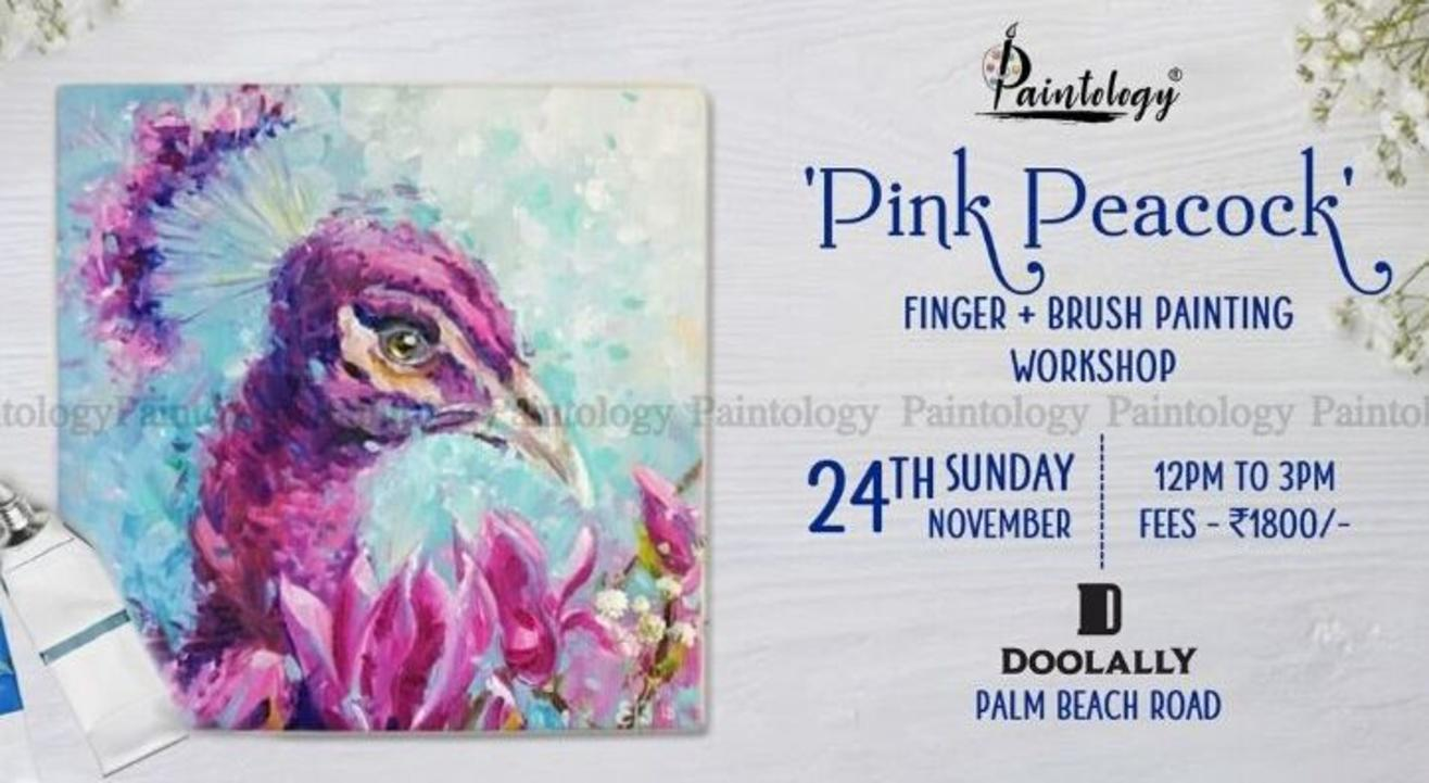 'Pink Peacock' Finger Painting Workshop: By Paintology