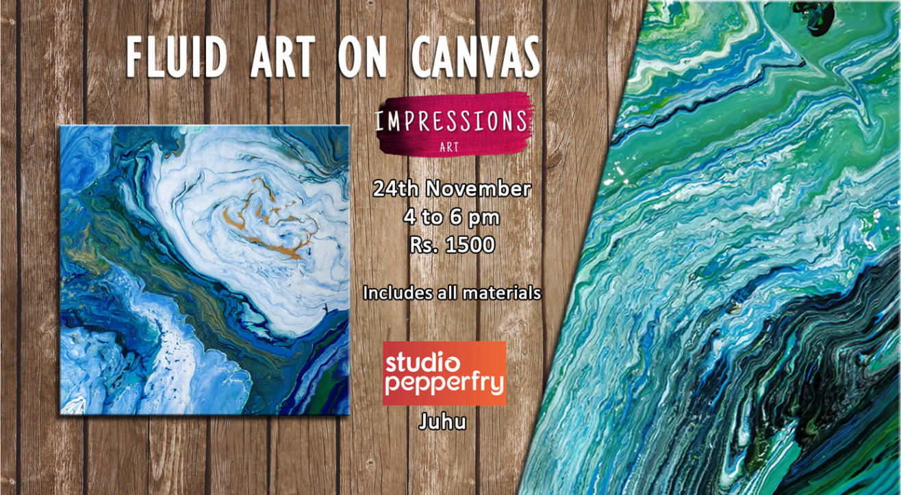 Fluid art on Canvas, With Impressions Art