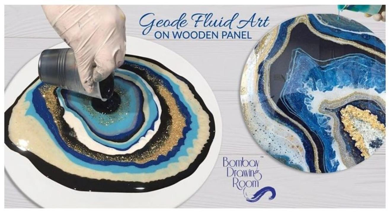 Geode Fluid Art on Wooden Panel-By  Bombay Drawing Room