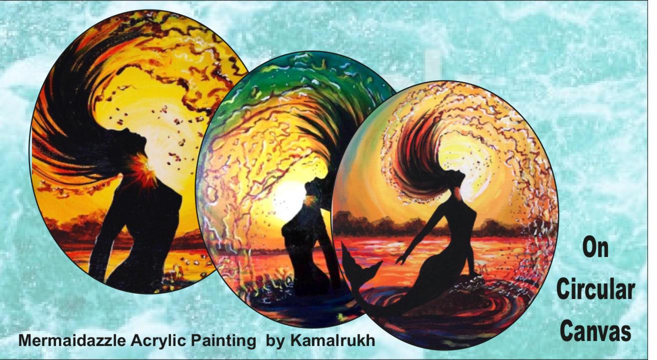Mermaidazzle on Circular Canvas