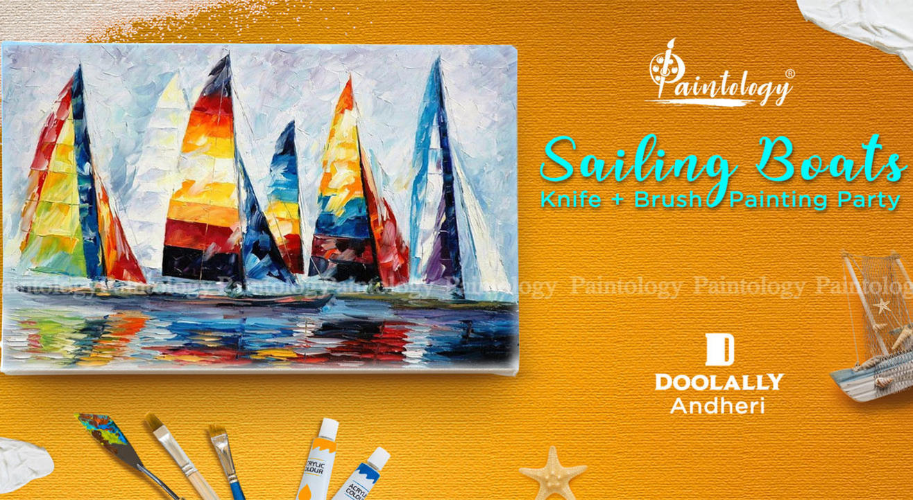 'Sailing Boats' Knife + Brush Painting Party at Andheri, by Paintology