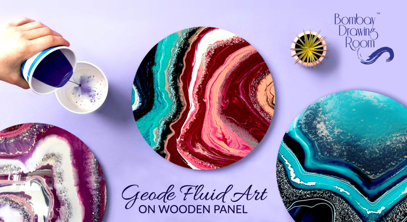 Geode Fluid Art on Wooden Panel by Bombay Drawing Room