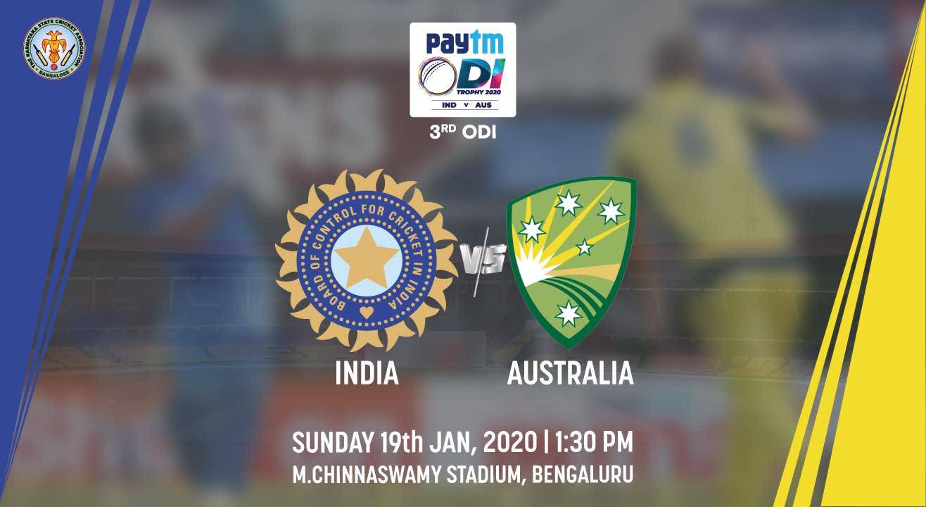 Paytm ODI Series 3rd ODI: India vs Australia, Bengaluru