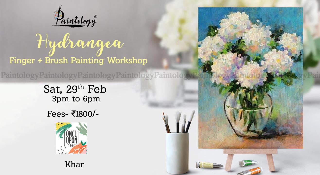 'Hydrangea' Finger + brush Painting workshop , Khar by Paintology