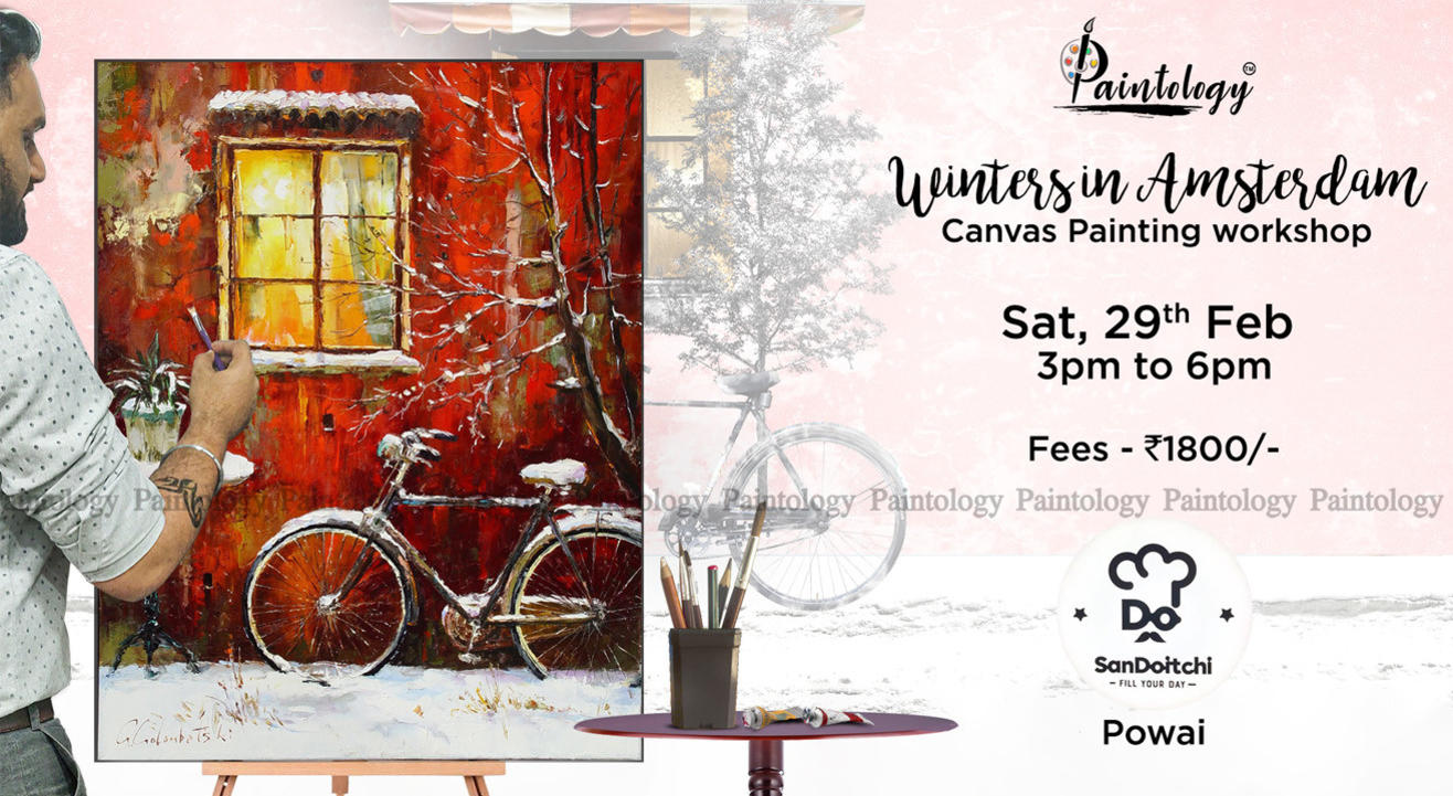 'Winters in Amsterdam' Canvas Painting party, Powai by Paintology