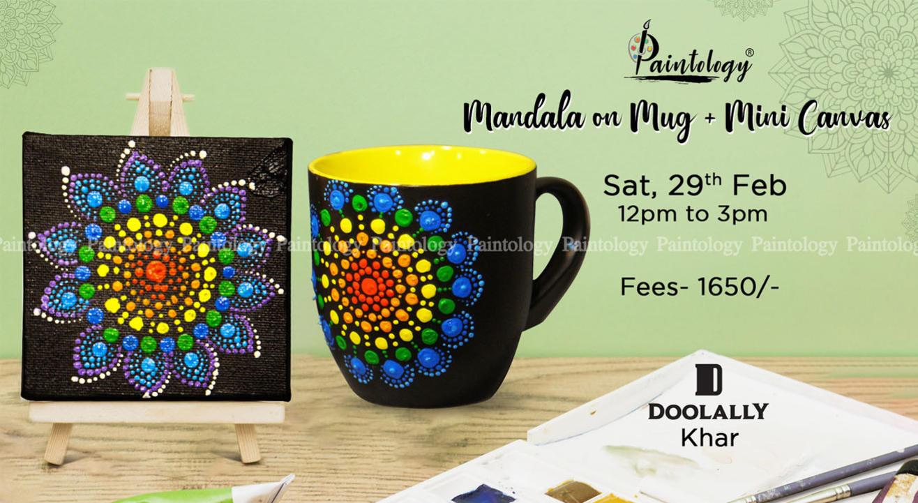 Mandala Painting on Mug + Mini Canvas ,Khar by Paintology