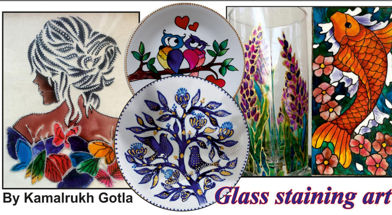 Glass staining art (2 art pieces)