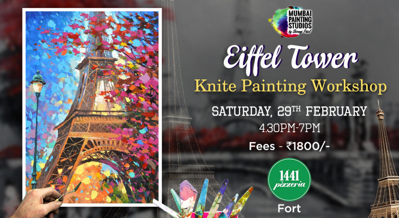 Eiffel Tower - Knife Painting Party Workshop at Fort