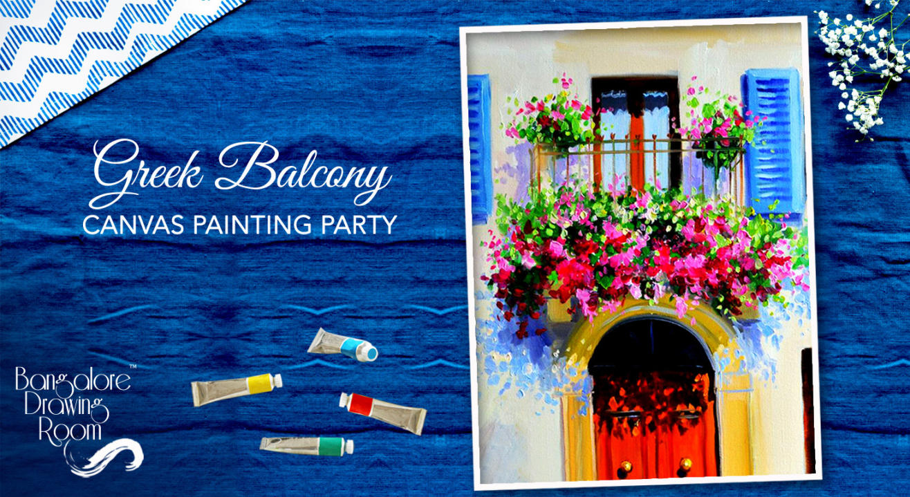 Greek Balcony Canvas Painting Party by Bangalore Drawing Room