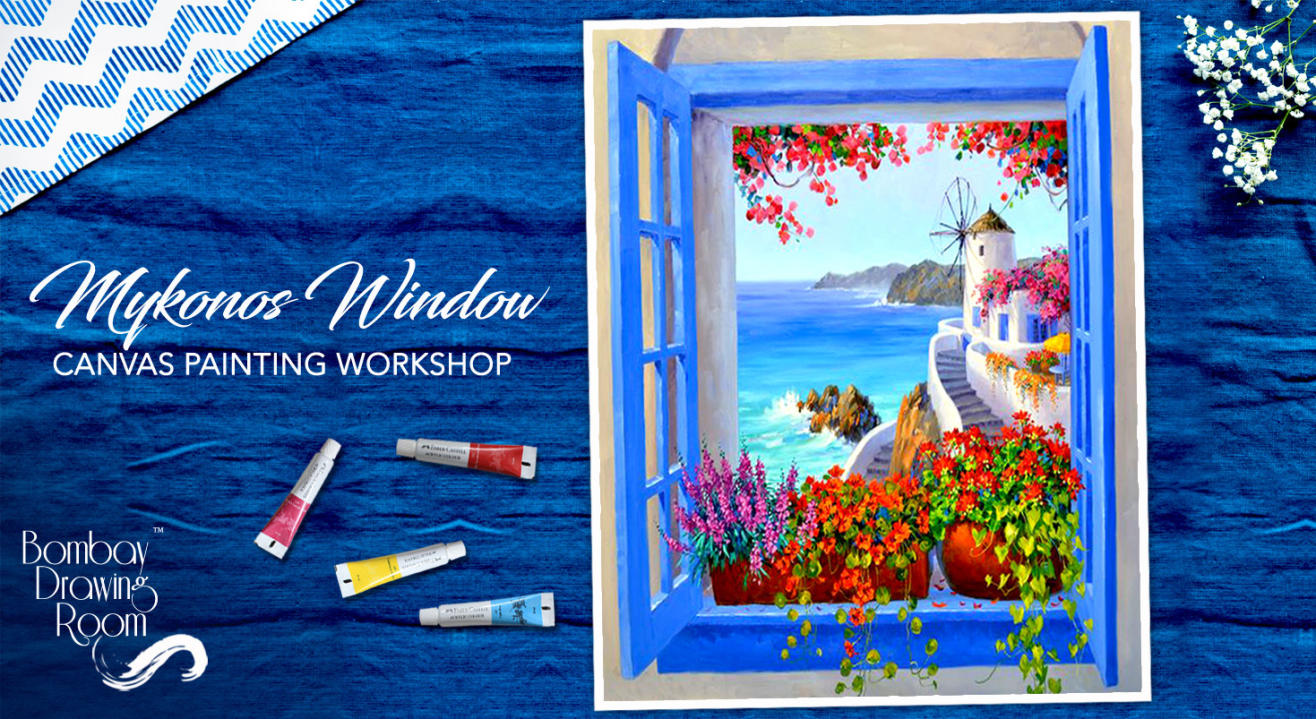 Mykonos Window Canvas Painting Workshop by Bombay Drawing Room