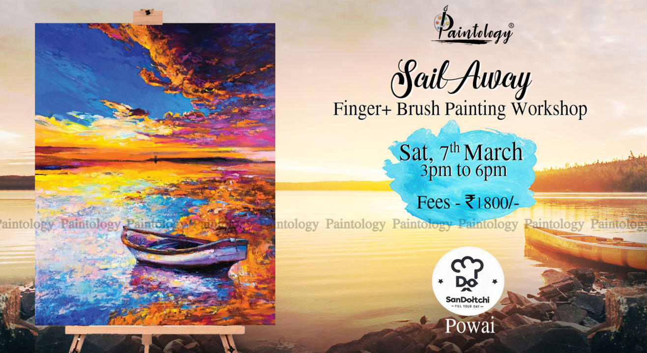'Sunset Sail' Finger + brush Painting workshop by Paintology