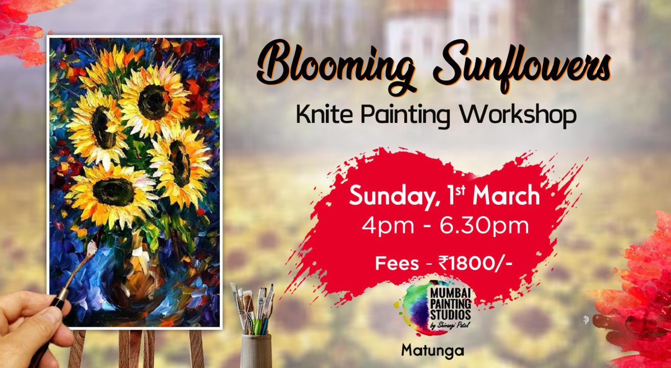 Blooming Sunflowers Knife Painting Workshop by Mumbai Painting Studios